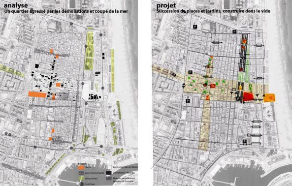Plano del barrio con el análisis del estado actual (izquierda) y el proyecto planteado (derecha).
